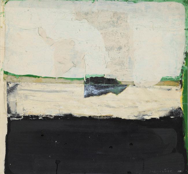 Michel Parmentier - Avant les Bandes : Sans titre n°2, 1963 Huile et collage sur papier  48 x 51,5 cm © Laurent Lecat