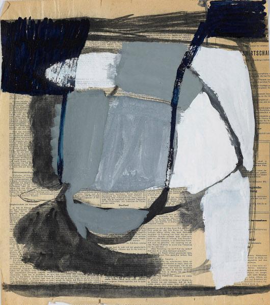 Michel Parmentier - Avant les Bandes : Sans titre, non daté Huile sur papier journal 49 x 43,5 cm © Laurent Lecat