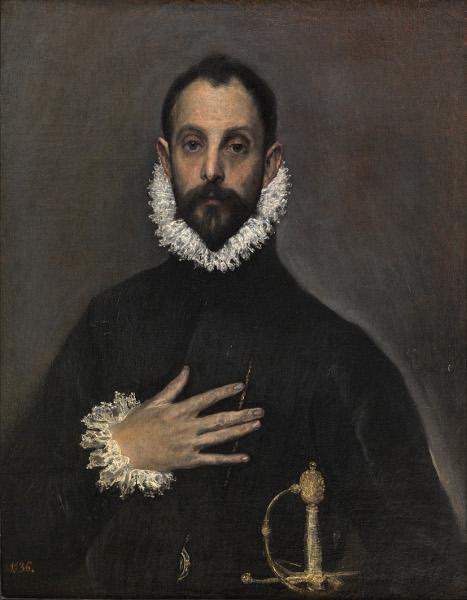 Le Greco et la peinture moderne : Le Greco. Gentilhomme avec sa main sur la poitrine. 1580, huile sur toile, 82 x 66 cm. Madrid, Museo Nacional del Prado