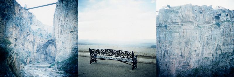 Sophie Elbaz - Géographies intérieures : L'île fantastique (tryptique Diasec 60 x 60cm ) N°1- Le pont. N°2 Le banc de mon grand -père. N°3 La falaise.  Constantine, Algérie, 2007. © Sophie Elbaz