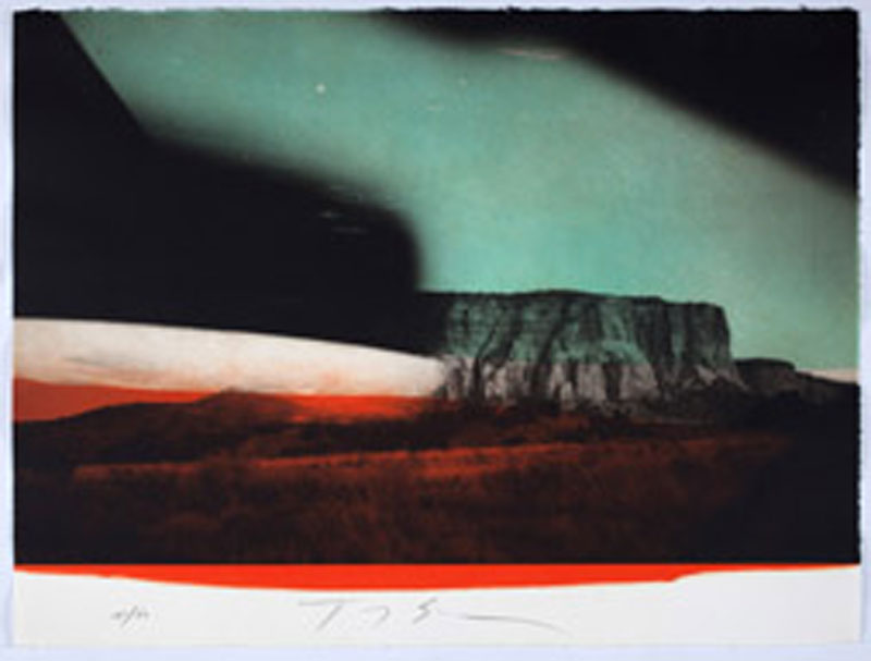 15e biennale internationale de la gravure à Sarcelles : Tony Soulié - Monument Valley. Photogravure et aquatinte. 56 x 76 cm. © Jean-Yves Lacôte