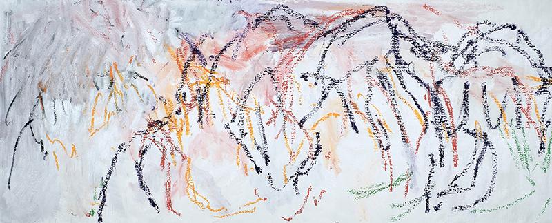 Christian Sorg. Peintures de fêtes et suites rupestres : Christian Sorg. Tumulos Ibericos den val del Vinya. 2013, 98.5x 195.5cm