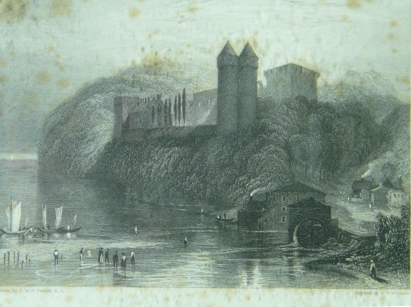 D'une rive, l'autre : Tancarville - Maison des Templiers, 1ere moitié du XIXe siècle Joseph William Turner - Musée Biochet-Brechot Estampe, 29x32,5 cm © DR