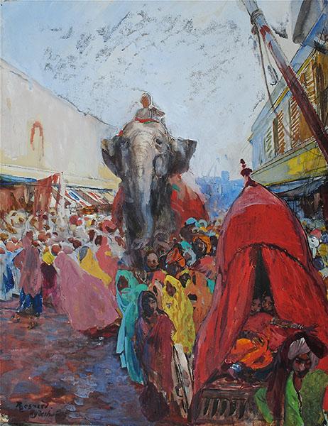 Albert Besnard. Modernités Belle Époque : Albert Besnard, Un How-Dah à Hyderabad, 1911. Aquarelle et gouache sur papier, 60 x 48 cm Collection Bertrand Puvis de Chavannes