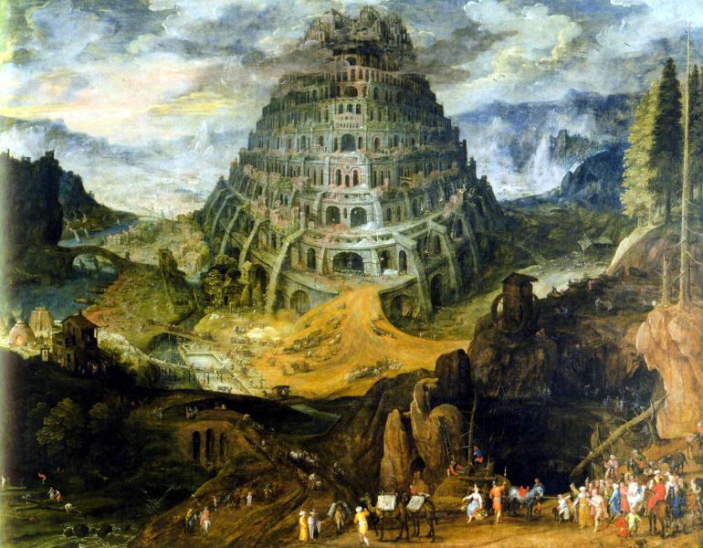 Fables du paysage flamand : Bosch, Brueghel, Bles, Bril : Verchaecht (Tobias),Paysage avec la tour de Babel,Anvers