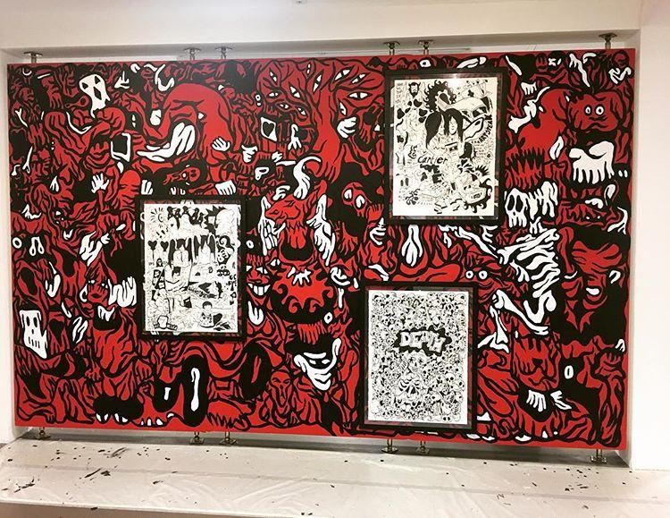 Le dessin, autrement : Vue du dessin mural de Fabien Verschaere, Galerie de l'Etrave, Thonon-les-Bains, 2017.