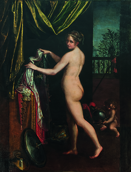 Les Dames du Baroque, Femmes peintres dans l'Italie du XVIe et XVIIe siècle : Lavinia Fontana. Minerva s'habillant. 1613. Galleria Borghese, Rome