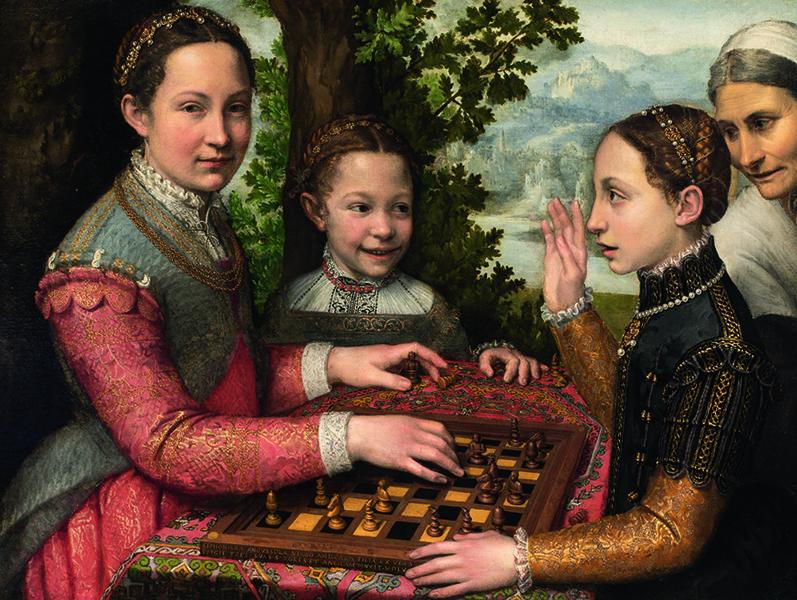 Les Dames du Baroque, Femmes peintres dans l'Italie du XVIe et XVIIe siècle : Sofonisba Anguissola. La partie d'échecs. 1555. Fondation Raczynski du Musée national de Poznan