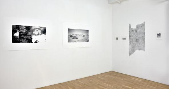 Isabelle Lévénez. La Surface et ses dehors : Isabelle Lévénez. 2014, Impressions numériques et dessins au fusain format sur papier 90 / 1m50 cm Dessin au fusain sur le mur