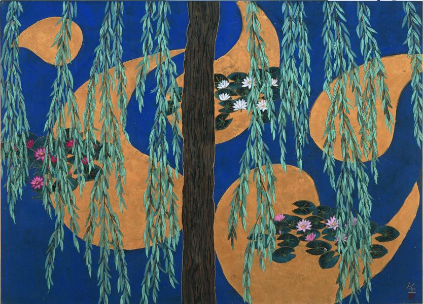 Hiramatsu, le bassin aux nymphéas. Hommage à Monet. : Hiramatsu Reiji, Reflets de nuages dorés, 2010, Nihonga, 65,2 x 90,9 cm, Musée des Impressionnismes Giverny, © Hiramatsu Reiji