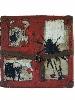 Kacimi. 1993-2003, une transition africaine : Sans titre. Acrylique sur valise en carton. 38 x 38 cm. Signé en bas à gauche. Collection privée, Bordeaux © Jean Grelet - Le Labo Photo Bordeaux