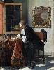 Vermeer et les maîtres de la peinture de genre : Gabriel Metsu, Jeune homme écrivant une lettre, 1664-4_Gabriel Metsu, Jeune femme lisant une lettre, 1664-1666. Huile sur panneau. 52 x 40,5 cm. Dublin, National 1666. Huile sur panneau. 52,5 x 40,2 cm, Dublin, National