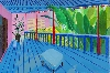 David Hockney : Garden with Blue Terrace 2015 Acrylic paint on canvas 1219 x 1828 mm Private collection © David Hockney