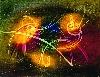 Judit Reigl. Depuis 1950, le déroulement de la peinture : Flambeau des noces chimiques. 1954, 168 x 228 cm. MNAM, centre Georges-Pompidou, Paris.