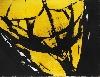 Judit Reigl. Depuis 1950, le déroulement de la peinture : Homme. 1969-1970, huile sur toile, 207 x 270 cm. Collection privée.