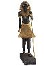 Toutânkhamon, le trésor du Pharaon : Statue à l'effigie du roi montant la garde. 18e dynastie, règne de Toutânkhamon, 1336 - 1326 av. J.-C. 190 x 56 cm. Bois, gesso, résine noire, feuille d'or, bronze, calcite blanche et obsidienne