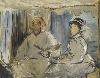 Monet collectionneur. Chefs-d'œuvre de sa collection privée. : Édouard Manet Monet peignant dans son atelier 1874  Huile sur toile 106,5 x 135 cm  Stuttgart, Staatsgalerie  © BPK, Berlin, Dist. RMN-Grand Palais / image Staatsgalerie Stuttgart