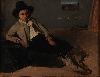Corot - Le peintre et ses modèles : Jean-Baptiste Camille Corot Jeune Italien assis vers 1825 Huile sur papier marouflé sur toile 23, 5 x 29, 3 cm Reims, musée des Beaux-Arts de la Ville de Reims © Photo : C. Devleeschauwer