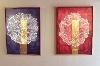 Jean Michel Meurice. L'espace bien tempéré : Jean Michel Meurice, Bartok Piano Bleu 3, 2011, acrylique, pastel gras et film aluminium sur toile, 55 x 46 cm, collection de l'artiste ; Jean-Michel Meurice, Bartok Piano Rouge 1, 2011, acrylique, pastel gras et film aluminium sur toile, 55 x 46 cm, coll