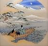 Meiji, Splendeurs du Japon impérial : Promenade à bord d'une barque, illustration du chapitre Ukifune du Dit du Genji, émaux cloisonnés, Japon, vers 1901, 69 x 69 cm, Collection Khalili, Londres, © The Khalili Collections of Japanese Art.