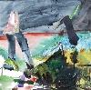 Agnès Bourély  –  Abstractions : Agnès Bourély, « Orage », encre sur papier, 30 x 30 cm